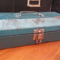 Vintage Blue Metal Rusty Industrial Tool Box Perfect for Office Studio Garage Organization Storage Decor