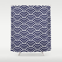 Navy Blue Scallop Pattern Shower Curtain by Enduring Moments