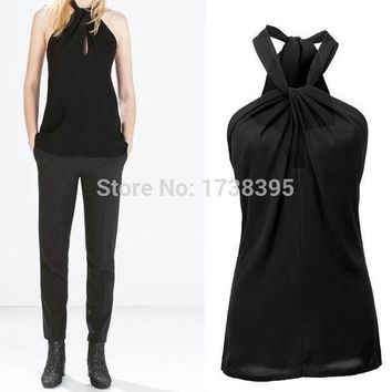 CREYU3C Hot sale Sexy Women's Lady Halter Neck Bow Vest Shirts Girls Backless Solid Tops Casual Women Blouses Blusas Femininas
