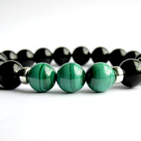 Mens Onyx Bracelet, Malachite Bracelet, Mala Bracelet, Jewellery for Men, Gemstone Bracelet, Bracelet for Men, Stretch Bracelet
