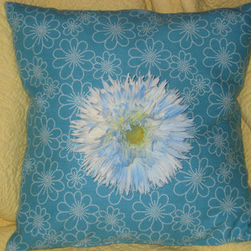Two Turquoise and White Pillows with Blue Flower (Free Shipping)