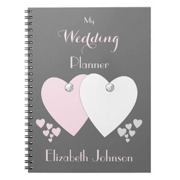 Wedding planner Notebook / pink and gray