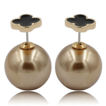 Mise en Dior Style Tribal v.s Van Cleef Earrings - Black & Metallic Bronze