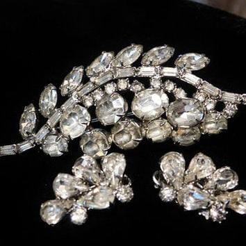 Weiss Rhinestone Demi Parure Brooch Earrings Set Mid Century 1950s 50s Austrian Crystal Rhinestones Wedding Bride Bridal Designer Jewelry