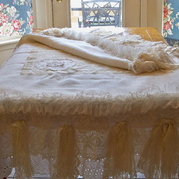 Handmade white burlap lace tablecloth shabby by AnitaSperoDesign