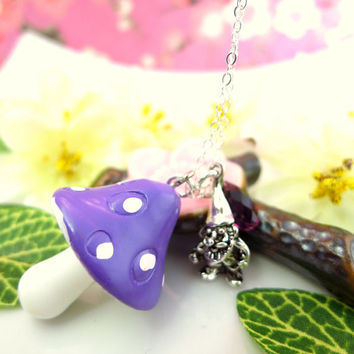 Purple mushroom silver gnome sterling silver necklace, whimsical purple woodland gnome mushroom necklace