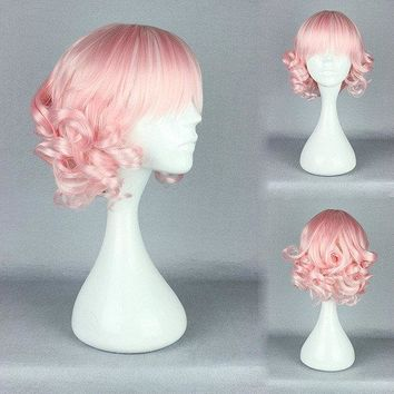 Charming Pink High-Temperature Resistance Hair Cosplay Costume Wig Wavy Short Dreamlike