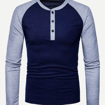 Men Color-Block Raglan Sleeve Henley Tee