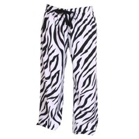 Zebra Black and White Print Flannel Tie Cord pants, Unisex Sizes