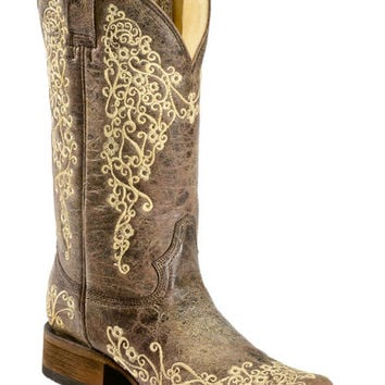 Corral Brown Crater Embroidered Cowgirl Boots - Square Toe