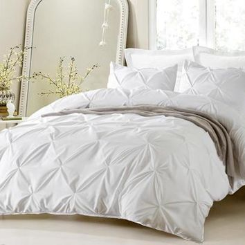 OVERSIZED FOR PILLOW TOP 3PC PINCH PLEAT DESIGN WHITE DUVET COVER SET