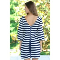 Take It To Seaside Dress-Navy