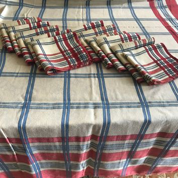 Vintage Plaid Tablecloth & 12 Matching Napkins Loose Weave Cotton Large Rectangular Tablecloth Vintage Table Cover Farmhouse Kitchen Decor