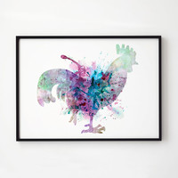 Rooster watercolor Bird decor Wildlife art EM135
