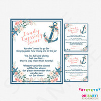 Nautical Baby Shower, Candy Guessing Game, Baby Shower Games, Pink, Blue, Guess How Many Candies, Printable, Baby Shower Sign, Girl, NA01