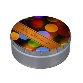 Multicolored Christmas lights. Add text or name. Candy Tin