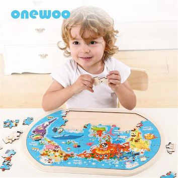 Wooden Puzzle Cartoon World Map Kids Learning Toys Baby Puzzle Early Childhood Education Toys Children Birthday Wooden Toy Gift
