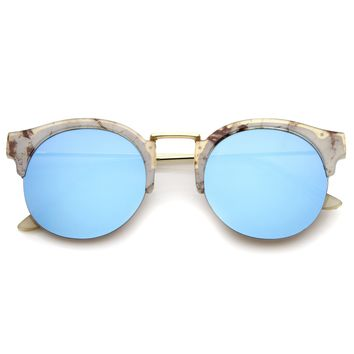 Women's Semi-Rimless Printed Frame Color Mirror Lens Round Sunglasses 53mm
