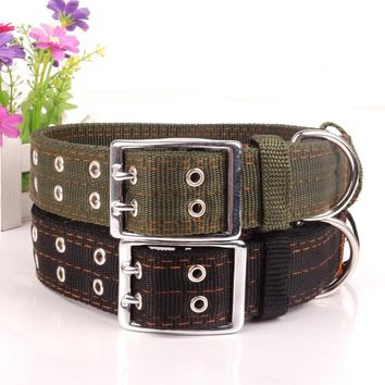 New 4 layer thicken nylon Pet Collar Medium and Large dog collar Double breasted big dog leash lead Super strong Traction rope