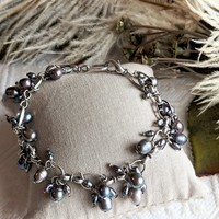 One of a Kind Artisan Crafted Silver Lavender Pearl Charm Bracelet