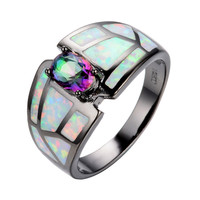 Summer Rainbow Fine jewelry Size 6 7 8 9 Women Finger Rings 14KT Black Gold Filled Zircon Opal Stone Wedding Ring anel RB0250