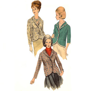 Retro Classic Mid-Century Woman's Jacket -Vogue Sewing Pattern 5772 Circa 1960 Blazer uncut