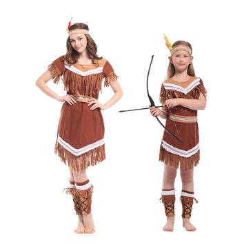 Umorden Halloween Costumes Family American Indian Princess Cosplay Women Native Hunter Costume Girl Fancy Dress for Adult Kids