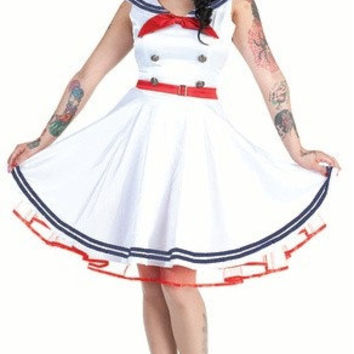 Sailor Dress, Pin UP Dress, Rockabilly Dress, Swing Dress, Red, White, Blue, Circle Skirt, Satin Dress, Spring Dress, Summer Dress