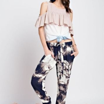 Indigo Tie Dyed Printed Joggers Pants