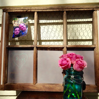 Reclaimed old vintage window with grey chalkboard paint and bronze chicken wire