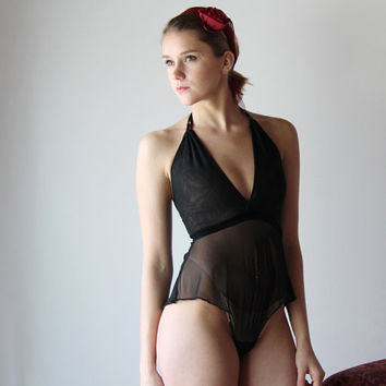 sheer mesh bodysuit with plunging convertible neckline and stretch velvet waistband JESTER - made to order