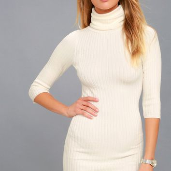 Snow Bunny Ivory Turtleneck Sweater Dress