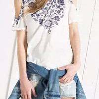 White Floral Geo Print Off Shoulder Short Sleeve T-Shirt