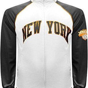 New York Knicks Majestic NBA Tricot Track Jacket White w/ Neon Accents Size 3XL