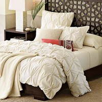 Organic Cotton Pin-Tuck Duvet Cover + Shams