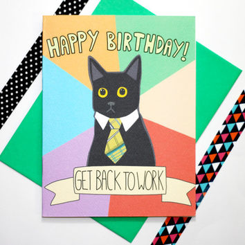 Business Cat Meme Funny Birthday Card