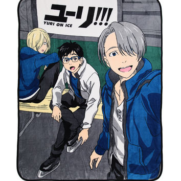 Yuri!!! On Ice Trio Selfie Throw Blanket