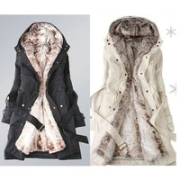 Faux fur lining women's winter warm long fur coat jacket clothes (US Size) [8424043783]