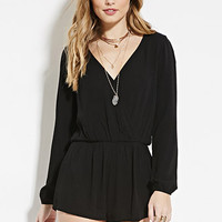 Crinkled Surplice Romper