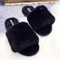 UGG Sheep fur one word drag the new autumn/winter slippers Black