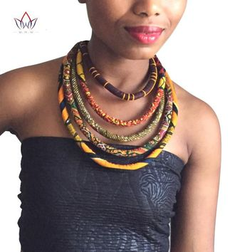 African Wax Print Colorful Necklace Ankara Knot Necklace African Print Fabric Jewelry for Women WYA086
