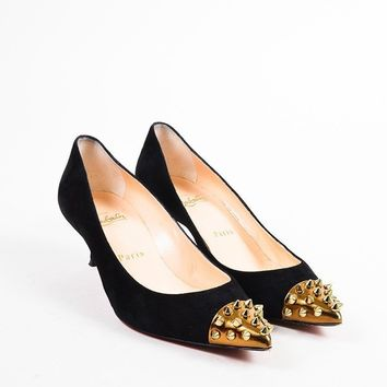 CREYU2C Christian Louboutin Black and Gold Suede Spike Studded Cap Toe Geo 45 Pumps