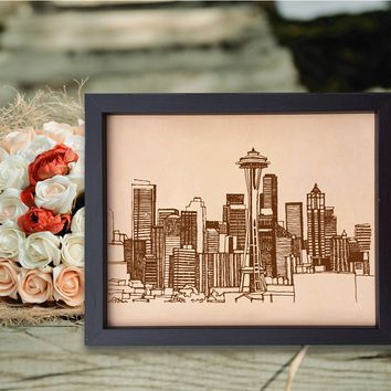 Lik249 Leather Engraved Wedding Third Anniversary seattle city Longitude Latitude personalized gift place house wedding
