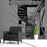 Vinyl Wall Decal Sticker Spiral Stairs in Home #5246