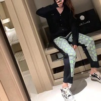 """Louis Vuitton"" Women Casual Classic Letter Print Pocket Sweatpants Couple Thickened Leisure Pants Trousers"