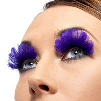 Smiffys SM36523 Purple Feather Eyelashes