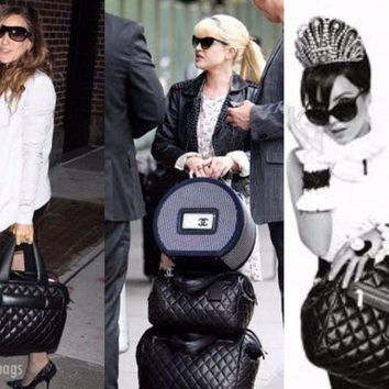 Chanel 07 Quilted Black Caviar Leather Ext Large Duffel Carry On Bag +Clutch NWT