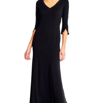 Adrianna Papell - AP1E201431 Embellished Long Sleeve Stretch Gown