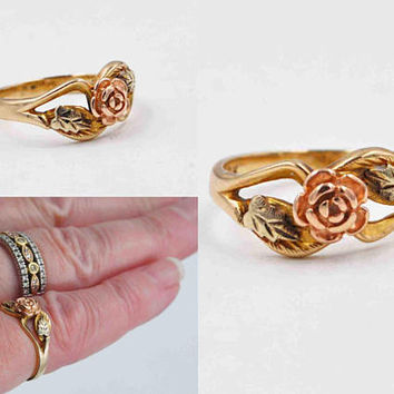 Vintage Black Hills Gold 10K Gold Rose Ring, Tri-Color, Yellow, Rose & Green Gold, Leaves, Flower, Signed Landstrom's, Lovely! #c334