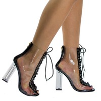 Posh1 Black clear translucent transparent lace up peep toe ankle bootie w Perspex block heel